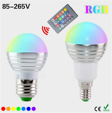 E27 E14 LED RGB smart Bulb lamp AC110V 220V 5W RC LED RGB light dimmable magic Holiday RGB lighting+IR Remote Control 16colors