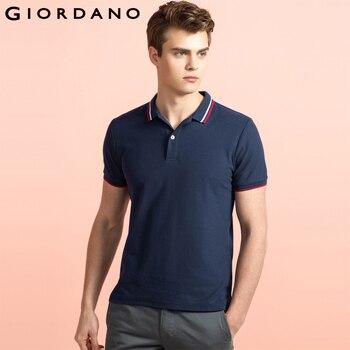 Giordano homens marca polo colarinho da camisa de mangas curtas de algodão sólida camisa polos homme roupas chemmise famosa hombre