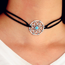 New Fshion Black PU Leather Dreamcatcher Choker Necklace Silver Chokers for Women Party Jewelry Gift(China)