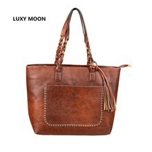 Luxury Designer Tassel Shoulder Bags Vintage PU Leather Women Handbags sac a main Shopping Tote Vintage Fashion dropshipping 107(China)