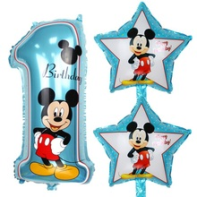 3pcs/set mickey number 1 foil balloons helium latex globos baby shower birthday party decor supplies kids toys pink blue