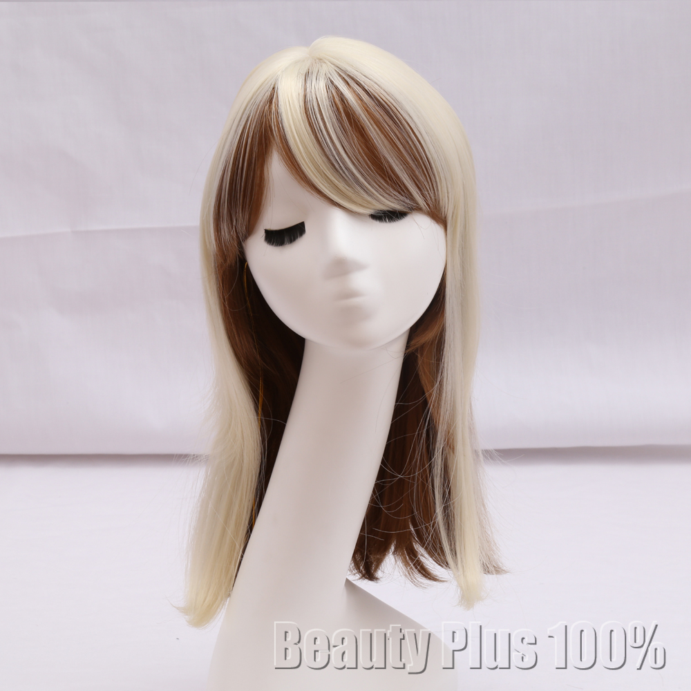 Medium Length  Cosplay Fashion Wig Long Straight  Light Blonde Wig Synthetic Heat Resistant Hair Young women Costume party Wigs<br><br>Aliexpress