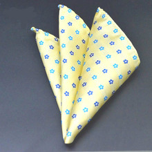 Factory Men Fashion Silk Handkerchief Yellow Flower Dots Pocket Square Hanky Elegant Men's Wedding Business Party Chest Towel