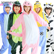 Panda onesies for adults Flannel Anime Pajama Cartoon Unisex Cosplay Female Animal Pajamas for women one piece pijama femme(China)