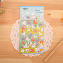 Fashion Lovely alpaca wall stickers,3D Cartoon Alpaca Bubble stickers,For Kids Festival Gift Toy DIY Decor sticker