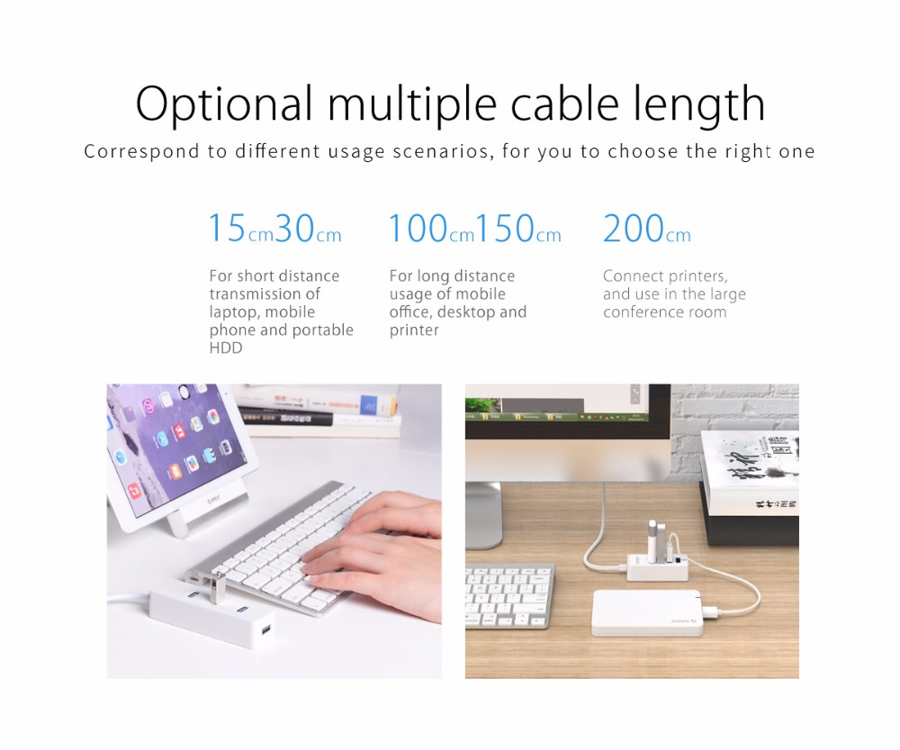 ORICO 4 Ports USB 2.0 HUB Micro USB and Type-A Input for Laptop Computer Phone Tablet Ultrabook 15CM Dada Cable Portable Black 5