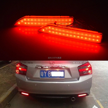 Car Styling LED Red Len Rear Bumper Reflector LED Stop Brake Light LED Tail Fog Parking Lamp for Honda City 2012