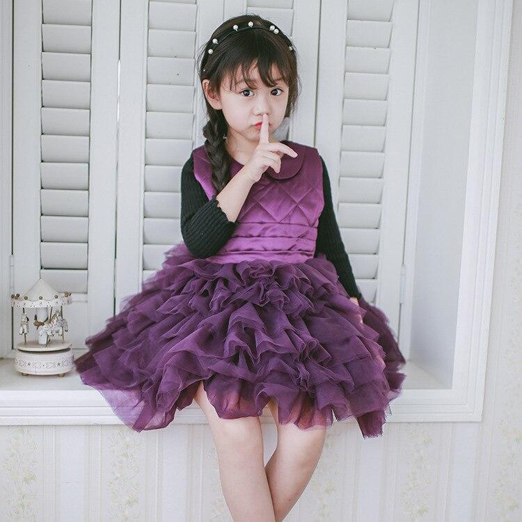 2017 autumn winter girls dresses kids peter pan collar sleeveless solid purple red ruffle patchwork tutu dress children clothes<br><br>Aliexpress
