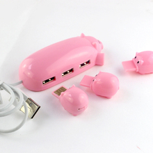 Cute Pink Pig Hub 3 USB ports with TF Card Reader,USB pig 3 HUB with one pig Micro SD Card Reader for Computer USB HUB expansion