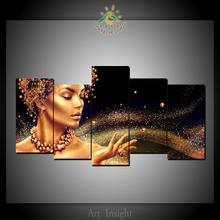 5 Pieces Golden Bling Girl Modern Wall Art Pictures HD Printed Canvas Painting Modular Pictures HD Paints Home Decoration(China)