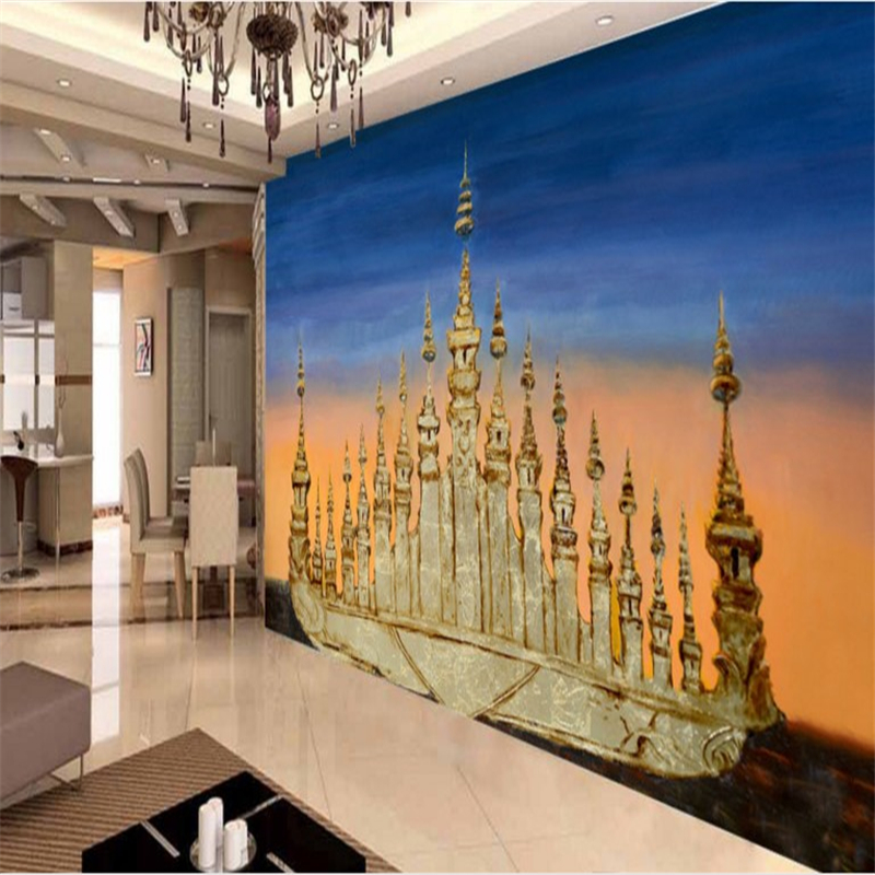 Large custom wallpapers sea golden ship building living room sofa TV home decoration painting wall papers home decor<br><br>Aliexpress