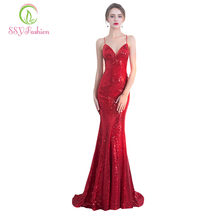 Robe De Soiree SSYFashion 2017 Sexy Mermaid Evening Dress The Red Sequins  Spaghetti Strap Backless Slim Long Party Prom Dresses f6388d3052b9