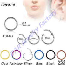 SHUIMEI Fashion 100pcs Titanium G23 Hinged Segment Nose Hoop Rings Septum Clicker Nose Piercing Body Jewelry(China)