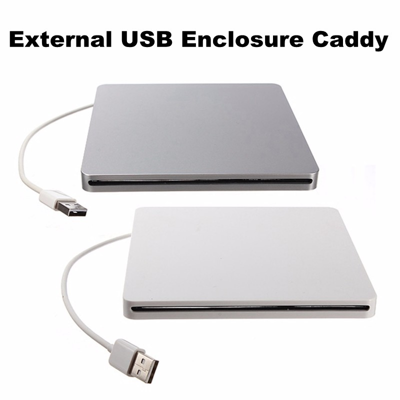 Newest Super Slim External USB 2.0 Slot-in DVD RW Enclosure Case 9.5mm/12.7mm SATA Superdrive Optical Drive(China)