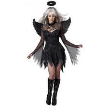 2017 Fashion Women Black Sexy Adult Fallen Angel Devil Witch Halloween Costume Cosplay Fancy Dresses W548650(China)