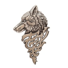 Vintage Personalized Wolf Head Brooch Animal Shape Suit Collar Pin Buckle Broche Wolfhead Brooches Pins For Men Gift