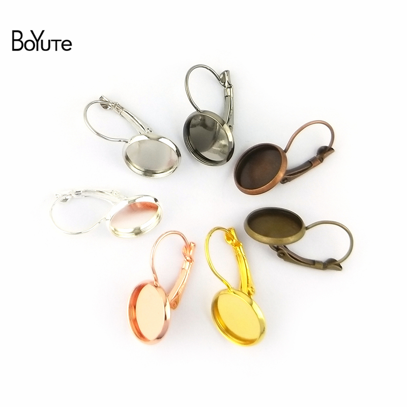BoYuTe 50Pcs 7 Colors Round 8-10-12-14-16-18-20-25MM Cabochon Base Blank Tray Clip Earrings DIY Jewelry Findings Components (6)