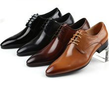 Fashion pointed toe mens dress shoes flats genuine leather business shoes mens derby shoes
