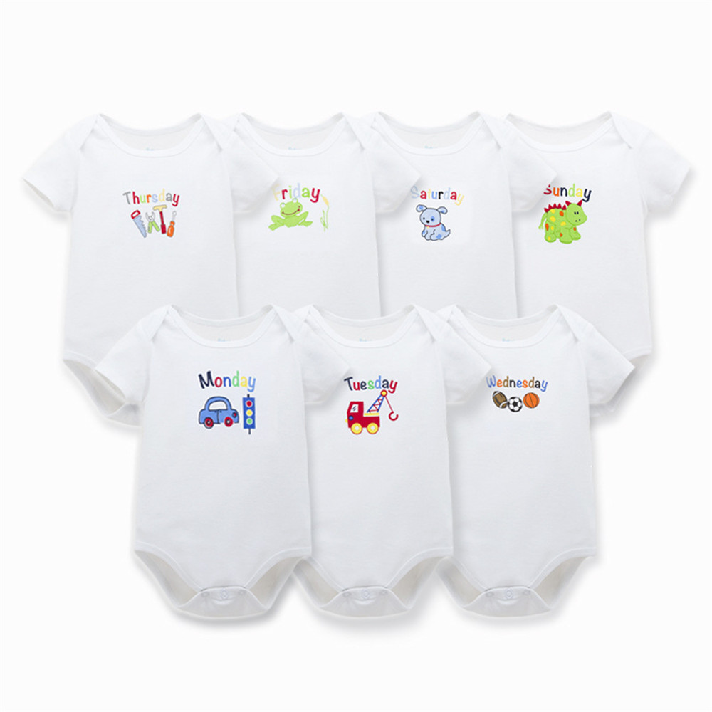 7 pcs Baby Boy Girls Rompers Printed Week Jumpsuits Monday to Sunday Infant Newborn Rompers Short Sleeve Summer Baby Clothes<br><br>Aliexpress