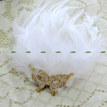 Christmas Prom Wedding Dancing Decor Bride Artificial Fan Feather Crystal Fox Boutonniere Corsage Brooch Flower White FL5304