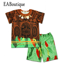 EABoutique 2017 Summer clothes for boys maui costume maui tattoo printing children boys clothes set(China)
