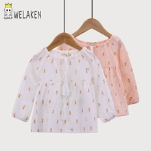 weLaken Long Sleeve Girls Shirt Spring Summer Outerwear Cute Cartoon Pattern Cotton Linen Tops Casual Kids Blouses