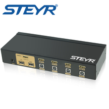 STEYR 4 Port USB KVM Switch HDMI KVM Switch 4 in 1 out Support 1080P 3D PC Keyboard Mouse Switcher for Computer Server Laptop