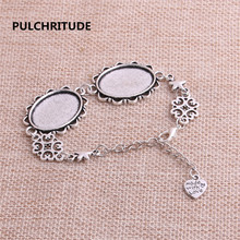 PULCHRITUDE 3pcs 22cm Alloy Antique Silver Chain Bracelet Hand Charm Round Cabochon base Setting Fit 25*18mm Dia Women Z0034