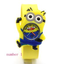 3D Eye Despicable Me minions Precious Milk Dad Children Watches Slap Snap On Silicone Quartz Wrist kids Watch Relogios feminino