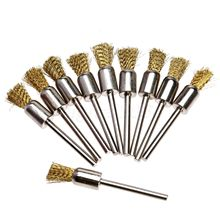 "10pcs Brass Pen Shape 8MM End Brushes 1/8"" Pen Shape Brass Wire Brush For Industrial Polishing Fits Dremel Rotary Tools"