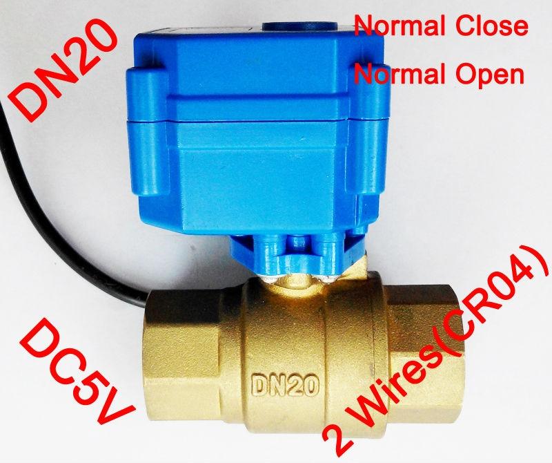 3/4 Brass electric control valve , DC5V morotized ball valve 2 wire (CR04) control, DN20 Electric valve with power off return<br><br>Aliexpress