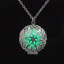 Steampunk Pretty Magic Round Fairy Locket Glow In The Dark Pendant Necklace Gift Glowing Luminous Vintage Necklaces JJAL N280(China)