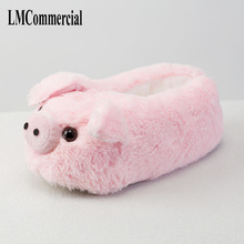 Indoor Slippers Special dog offer custom a warm winter Pink pig home slippers thick hard bottom shoes on floor lovers shoes(China)