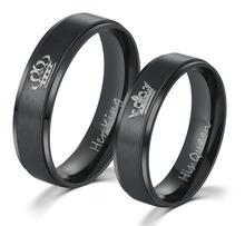 IP Black plated color 316L stainless steel HIS QUEEN and HER KING couple rings for lovers(China)