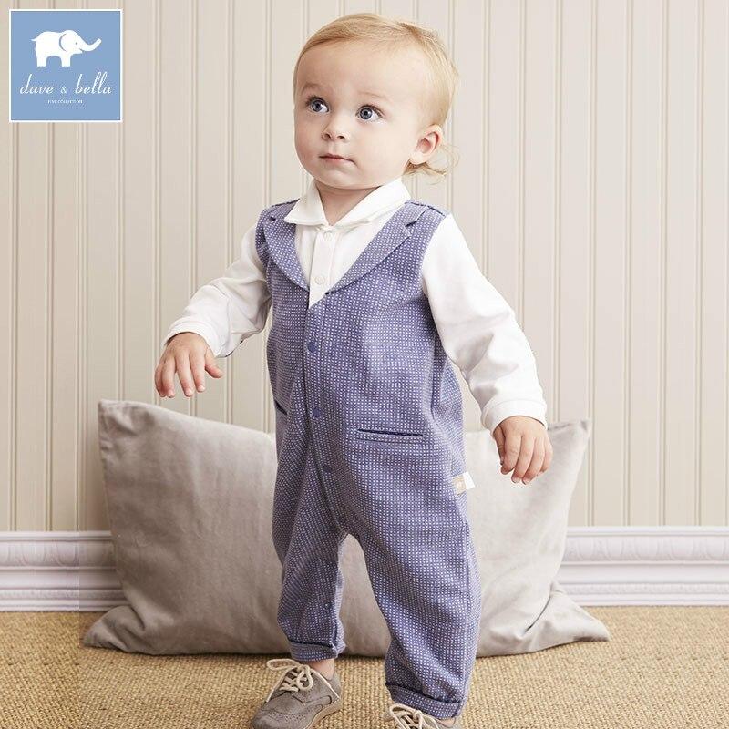 DB5580 dave bella autumn new born baby cotton romper infant clothes boys fashion cute romper children 1 piece<br>