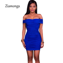 Ziamonga Women Sexy Off Shoulder Strapless Mini Short Dress Ruched Elegant Bodycon Dress Party Clubwear Pencil Dress For Women(China)