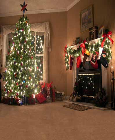 Customize Christmas tree party vinyl  photography backdrop digital print photographic portrait background for studio CM-4692<br>
