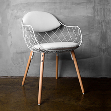 Minimalist Modern Design Metal Steel Wire Chair with Solid Wood leg Base Flower basket chair Home Furniture Fashion Dining Cha(China)