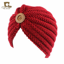 NEW women handmade beanie with wood button winter Head Cover knit hat Turban Bohemian Style