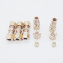 "Pack of 20 1/4"" OD*1/4""OD Brass Pneumatic Air Compression Fitting Union BCF-SU-T1/4-T1/4"