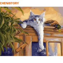 CHENISTORY Cat Diy Digital Oil Painting By Numbers Wall Art Picture Animals Hand Painted On Canvas For Home Decor 40x50 Artwork(China)