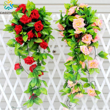 240cm Fake Silk Roses Ivy Vine Artificial Flowers with Green Leaves For Home Wedding Decoration Hanging Garland Decor(China)