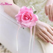 6pcs Wrist Artificial Flower Rose Silk Ribbon Bride Corsage Wedding Decorative Wristband Bracelet Bridesmaid Curtain