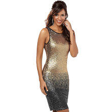 2018 America New Iridescent Gradual Change Hot Bag Hip Sexy Night Dress  Backless Maternity Sequin Club Dress Slim Black Gold 04f1726f5b48