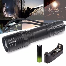 T6 4 files flash flashlight black + Sirius eye 18650 rechargeable battery pack +18650 universal charging base single slot(China)