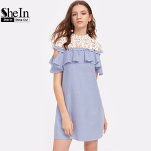 SheIn Floral Crochet Shoulder Open Flounce Dress Color Block Short Sleeve Cut Casual Women's Dresses - Official Store store