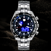 Sports LED Watch Men's Wristwatch TVG Brand Luxury Business Casual Watches Men Fashion Blue Binary Man Watch Stainless Steel(China)
