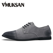 VMUKSAN Hot Sale Men Shoes Pigskin Pointed Toe Italian Mens Dress Shoes Business Formal Men Oxfords(China)