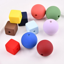 New style 30pcs/lot Color Rubber paint geometry 3D square/rounds fashion beads diy jewelry necklace/bracelet pendant accessory(China)