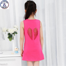 Mr.1991 brand new Heart-shaped hollow style baby Girls Cotton Dresses Teenage girl vest dress vestidos Infantis Clothes HD3(China)